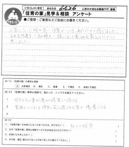 「住育の家」見学&相談アンケート 2016.04.14